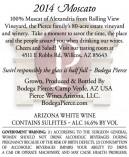 Moscato wine label Bodega Pierce