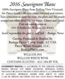 Willcox Vineyard Sauvignon Blanc wine