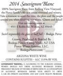 Back label Arizona Sauvignon Blanc